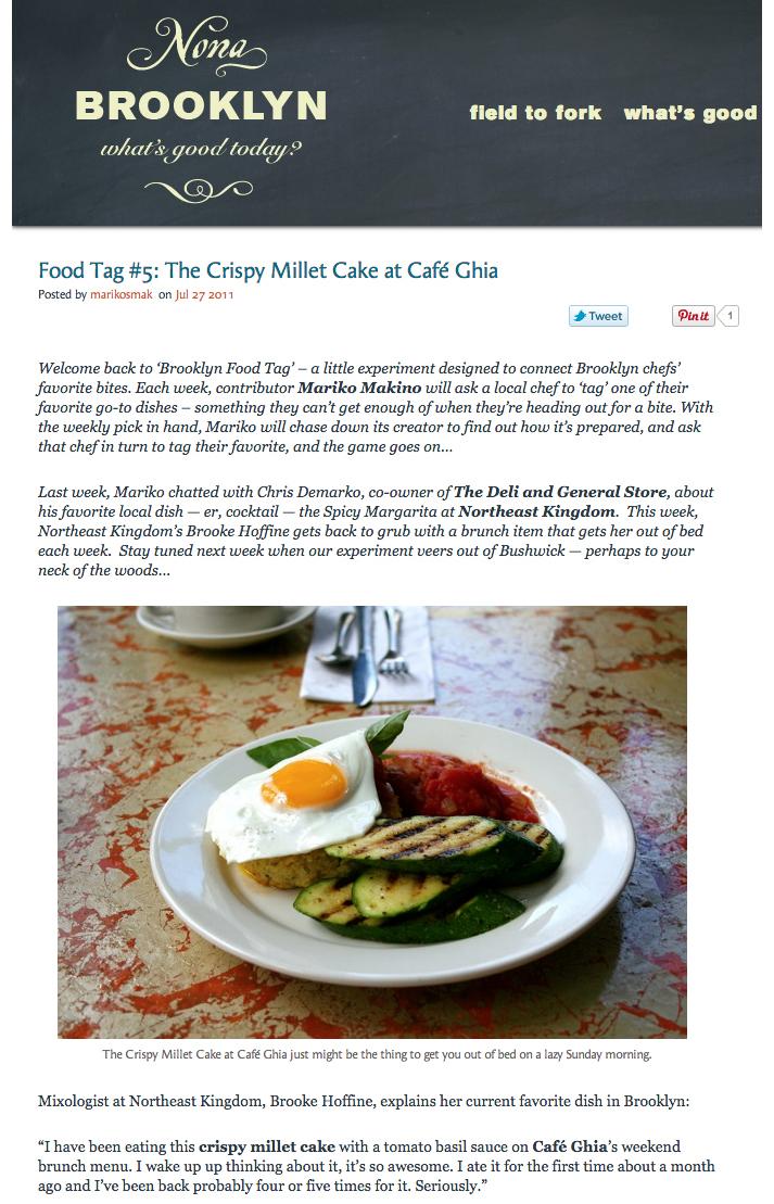 NonaBrooklyn features Cara's Crispy MilletCake   July 27, 2011