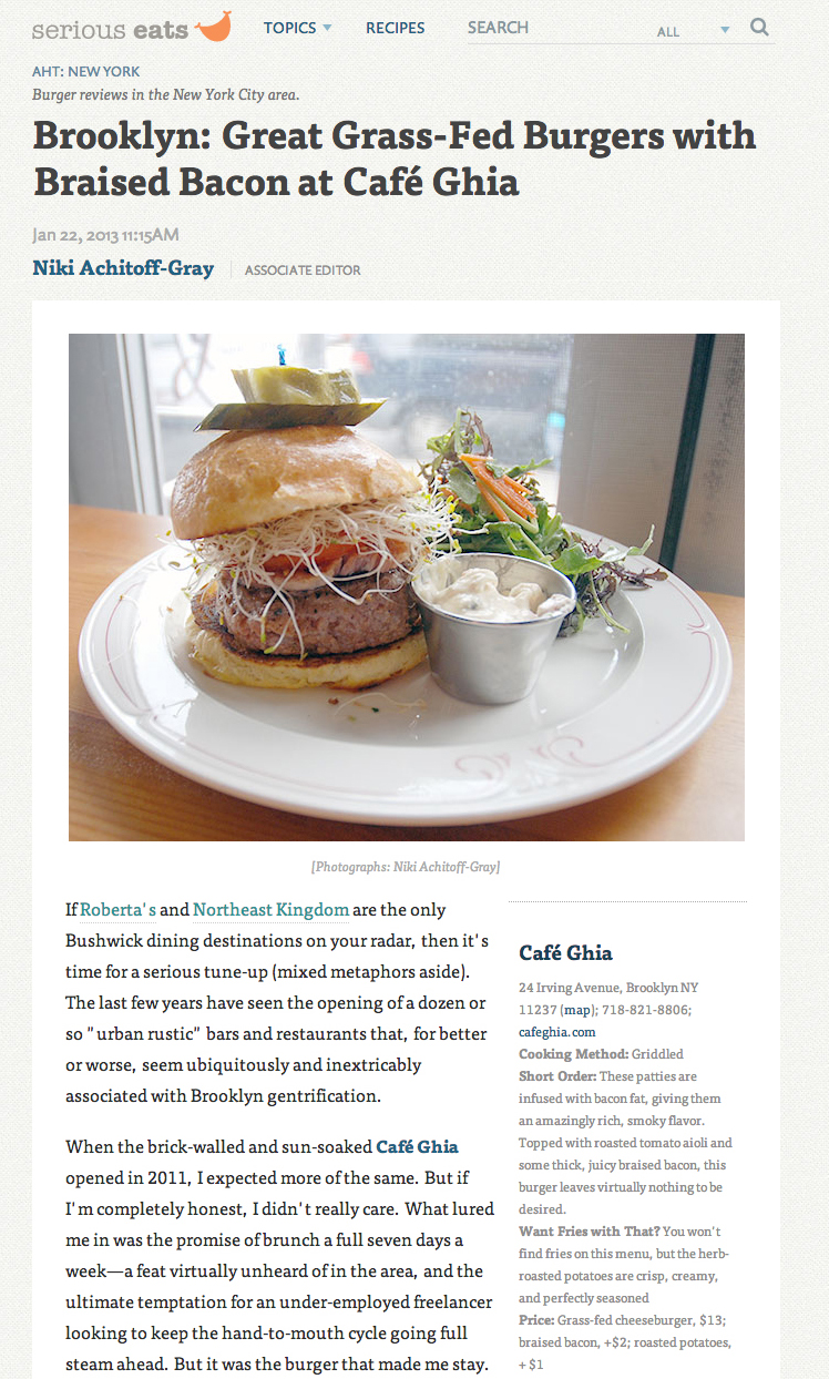 Serious Eats' A Hamburger Today: Great Grass-Fed Burgers with Braised Bacon at CaféGhia   January 22, 2013