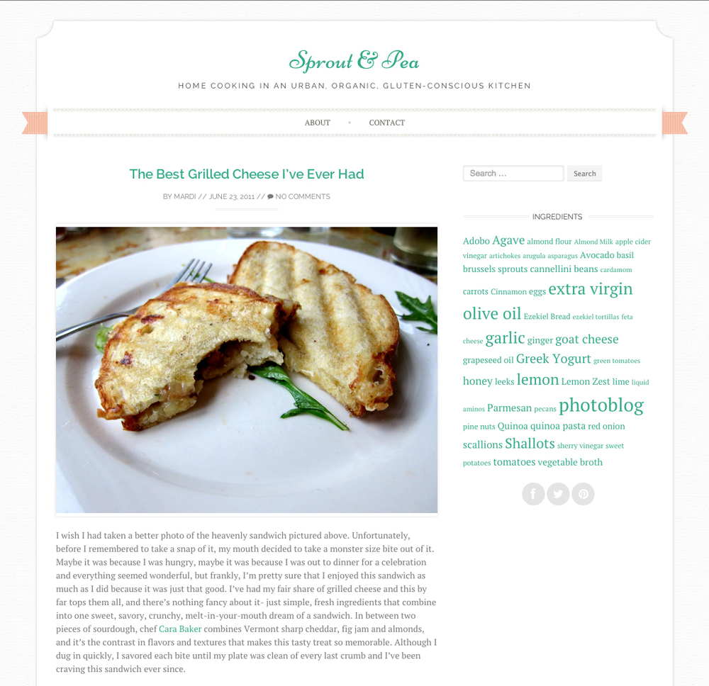 """Sprout & Pea """"Best Grilled Cheese I've EverHad""""   Summer 2011"""