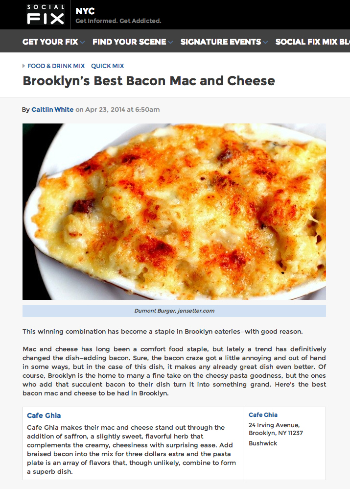 Social Fix: Brooklyn's Best Bacon Mac andCheese   April 23, 2014