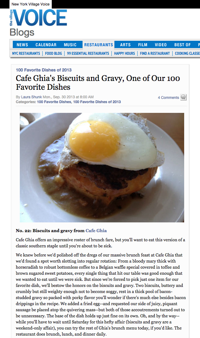 Village Voice: Cafe Ghia's Biscuits and Gravy, One of Our 100 FavoriteDishes   September 30, 2013