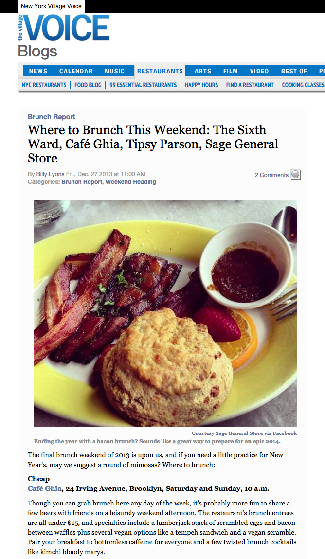 Village Voice: Where to Brunch ThisWeekend   December 27, 2013