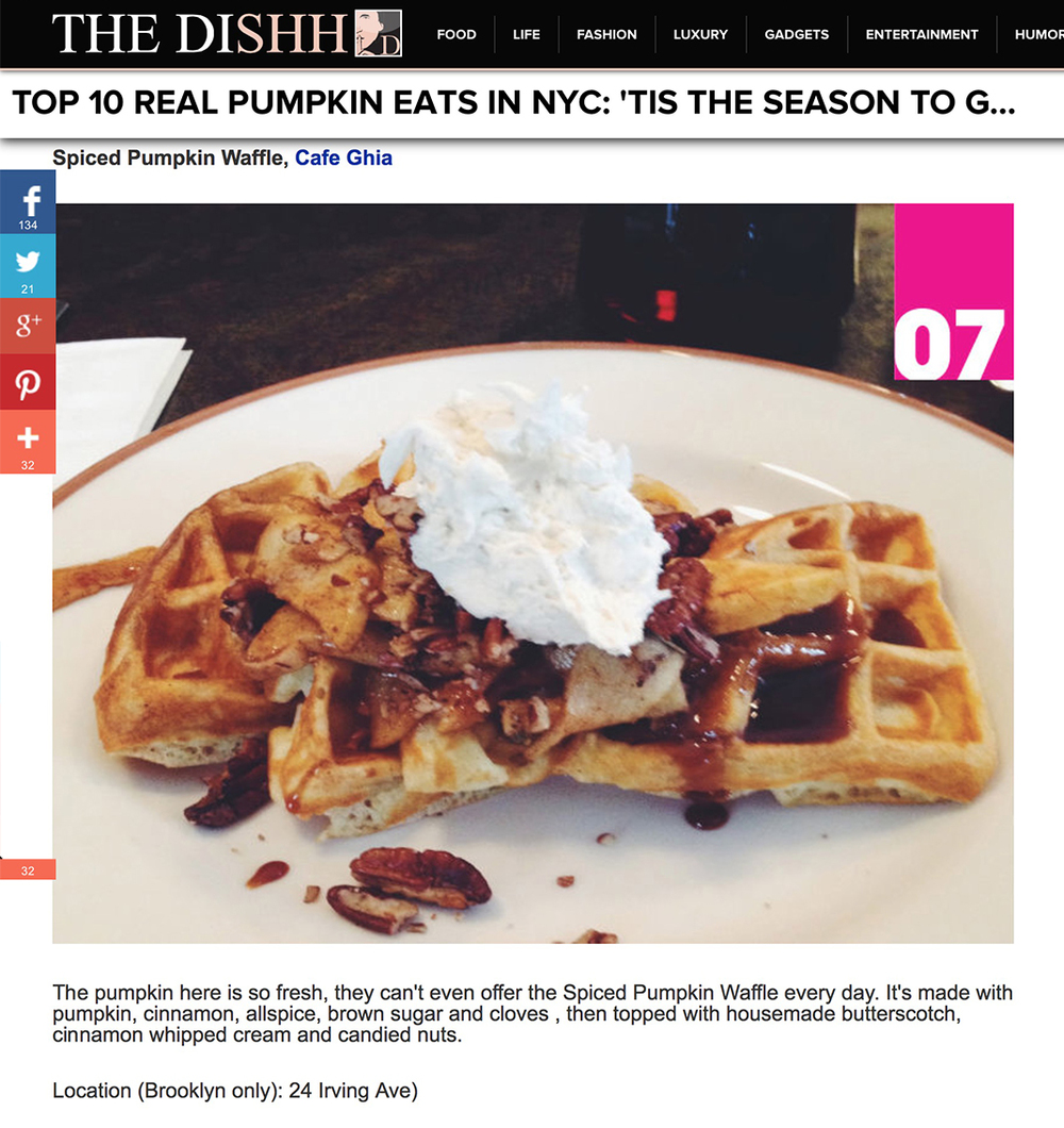 The Dishh: Top 10 Real Pumpkin Eats in NYC   October 27th, 2014