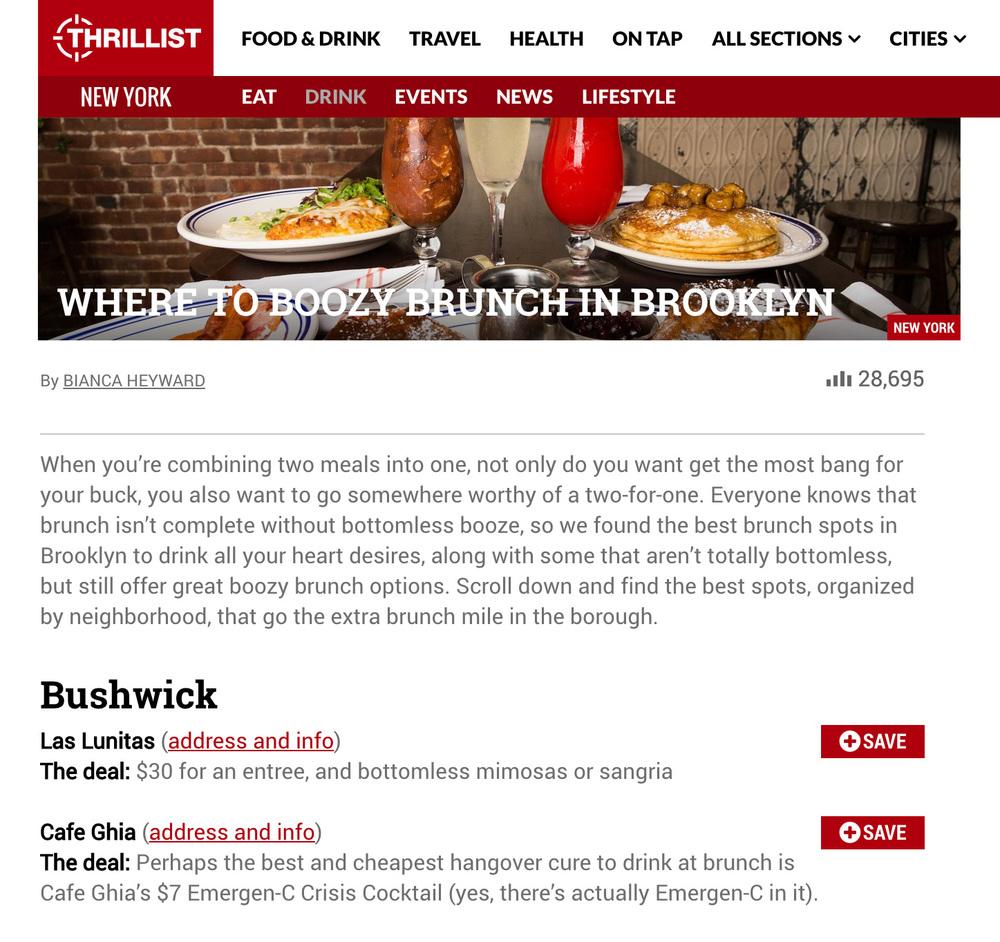 Thrillist: Where To Boozy Brunch in Brooklyn   April 9, 2016