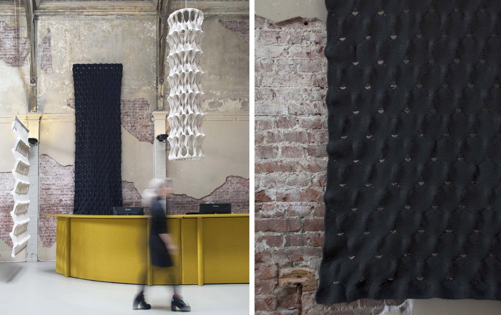 PLECTERE as acoustic improving partition curtain together with knit felt. .