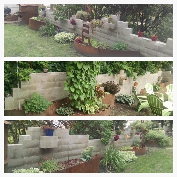 "Some views of the cinder block wall. (""Foundation"", August 20, 2015.)"