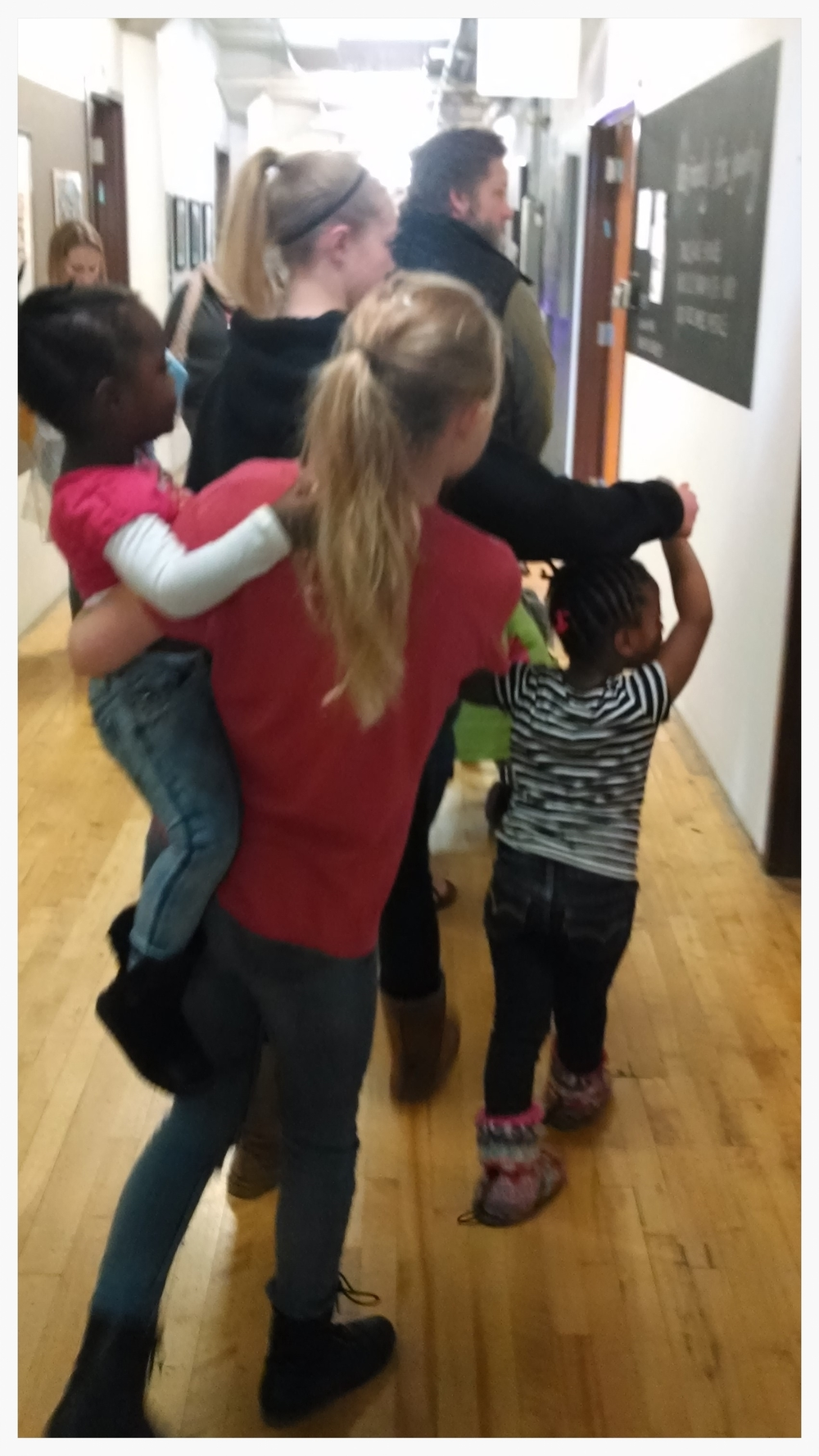 "Spending time with our little house guests at an art event. And a blurry time was had by all. (""The littles"", April 2, 2015.)"
