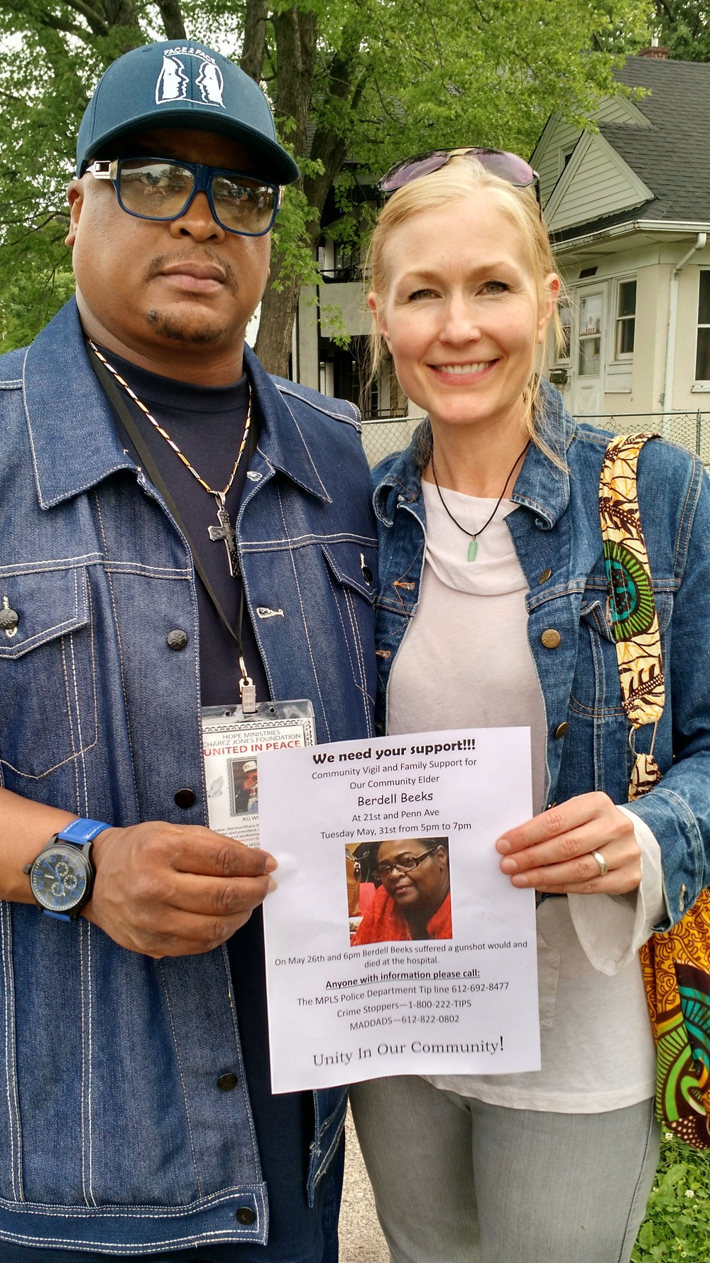 North Minneapolis peace activist (and friend) Kay G Wilson and me at Birdell Beeks' vigil.