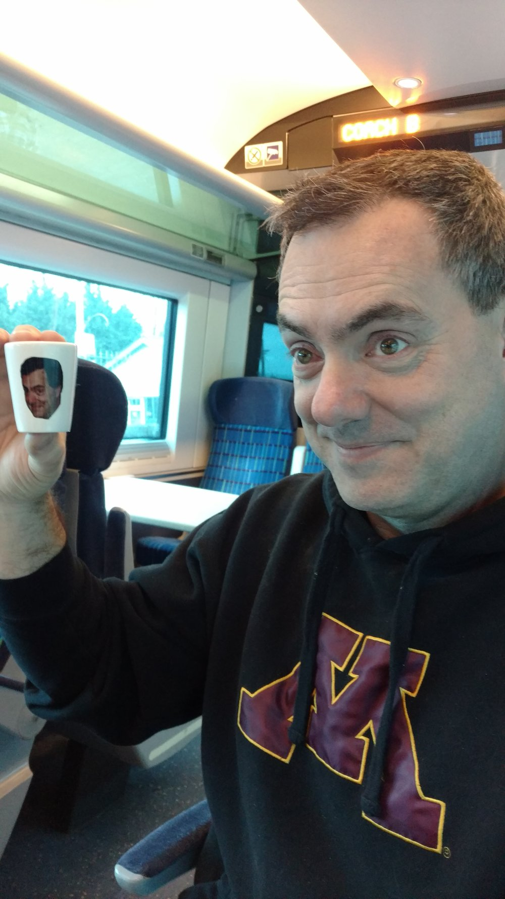 Dwight and the little guy on the train to Cork