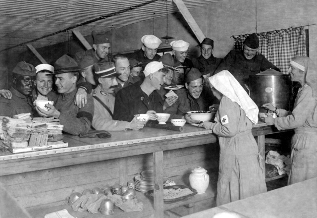 Red Cross workers and our World War I troops in France, 1918. Credit: National Archives.