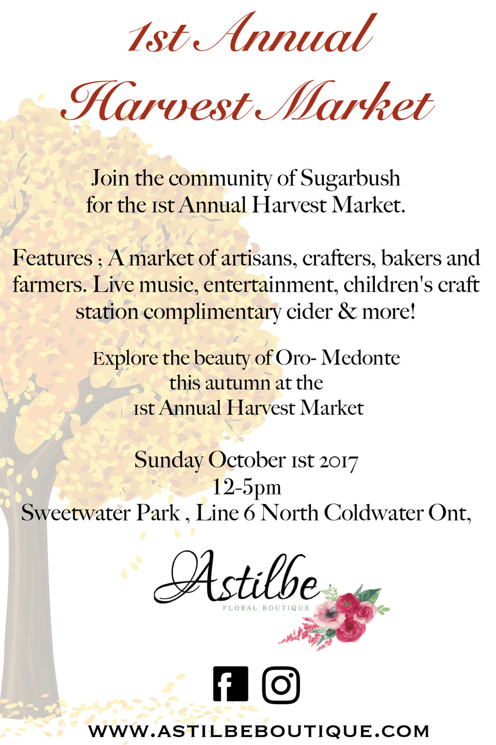2017 HarvestMarket  - 1st Annual Sugarbush Harvest Market October 1st 2017 12- 5pm Sweetwater Park Horseshoe Valley Line 6 North Coldwater Ontario Calling all vendors we have approx. 30 Available spot's with limited spaces filling quickly!Interested in becoming a vendor?Please submit vendor details to* astilbeboutique@gmail.com Submission deadline September 1st 2017.416 - 566 - 8015