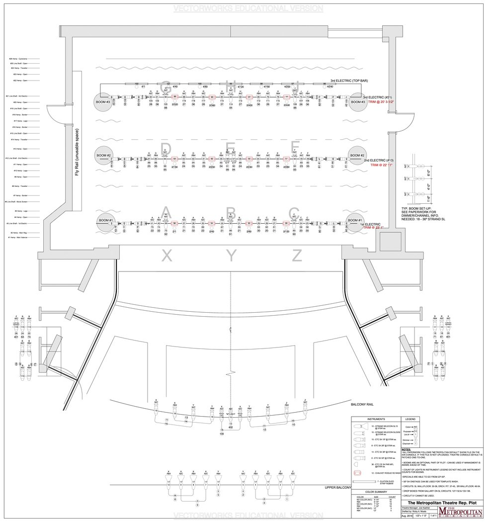 The Metropolitan Theatre Lighting Rep Plot August 2016