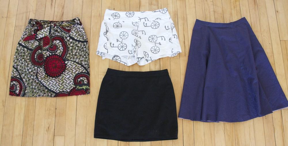 Printed Skirt:  Mamafrica Designs   Shorts:  Liz Alig   Midi Skirt:  Imagine Goods   Black Skirt: thrifted/refashioned