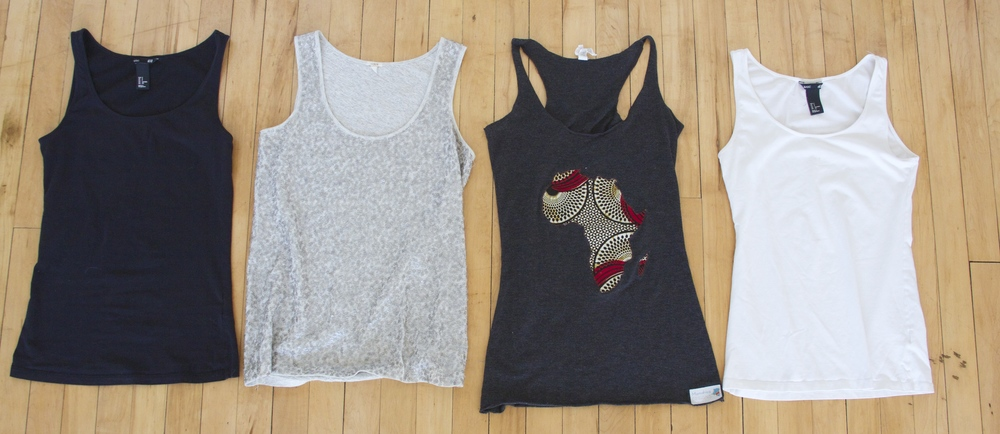 Black and White Tanks: H&M (old purchase)  Sequin Tank: Thrifted   Africa Tank: Mamafrica