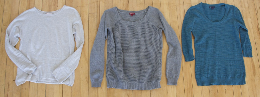 Grey Sweater: Thrifted   Textured Sweater: Target- old purchase   Aqua Sweater: Target- old purchase