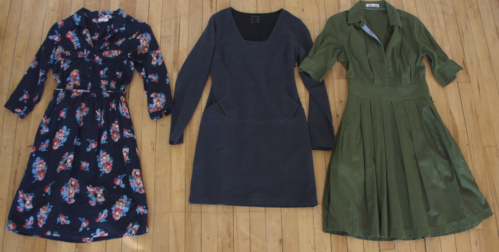 Floral Dress:  Bibico    Shirt Dress: Thrifted   Grey Dress:  Ash and Rose
