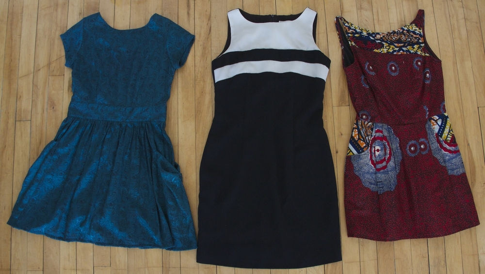 Turquoise Dress: Thrifted  Black and White Dress: Vintage  Printed Dress:  Amani Ya Juu