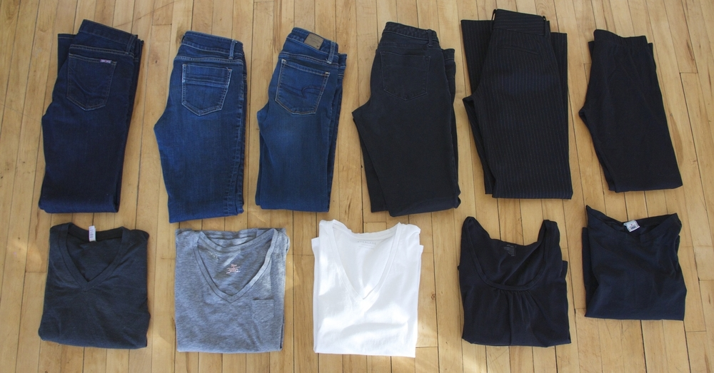 Skinny Jeans: Thrifted   Straight Leg Jeans: Thrifted  Wide Leg Jeans:  Hudson Jeans  (made in the USA)   Black Jeans: Thrifted  Dress Slacks: Thrifted  Leggings:  Threads4Though t   Grey Long Sleeve Tee: American Apparel (old, I no longer support this company.)   White tee:  Everlane   Other tees: thrifted