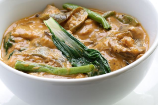Dinner: Kare Kare:   A traditional Filipino stew made with garden fresh veggies and a zesty organic peanut sauce, served with organic red rice, vegetarian bagoong, and fried bananas