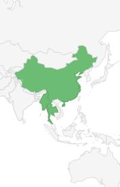 Oost Myanmar tot Zuid China in de provincie Yunnan  Oostelijk van de Salween rivier en westelijk van de Mekong rivier  Bergachtige streken in Noord- en Midden Thailand