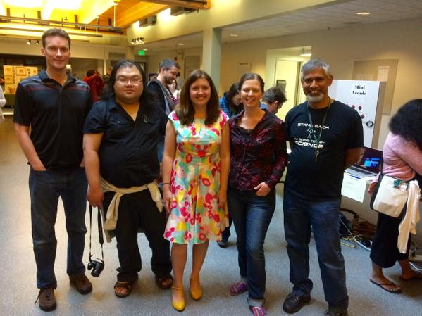The Maker Labs Fellowship Team a the 1st NWAIS Maker Fest.  From left: Jeff Tillinghast (University Prep), Wing L. Mui (Overlake), Adrienne Gifford (Open Window School), Geneva Hinchliffe (Overlake), and Santosh Zachariah (Evergreen)