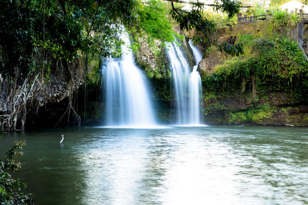 Een waterval met een lange sluitertijd geeft het bekende mistige effect.