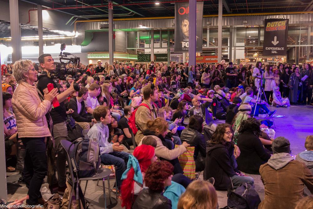 Het publiek tijdens de cosplay competitie