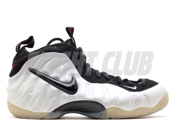 "The Nike Air Foamposite Pro in the White/Black/True-Red colorway, most commonly referred to as the ""Pearl"" foams. Picture via  Flightclubnyc ."