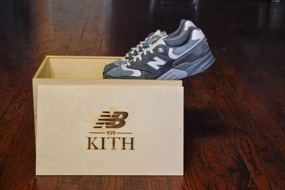 1. The Ronnie Fieg x New Balance 999 Steel Blue seen here with the Special Wooden Box that included a matching Hoodie/Short set.
