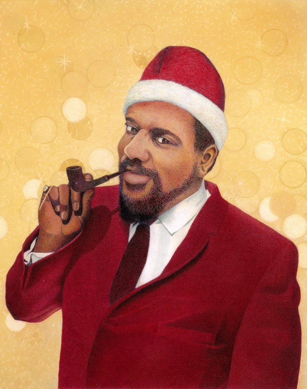 Santa Monk Kuumbwa Christmas Card