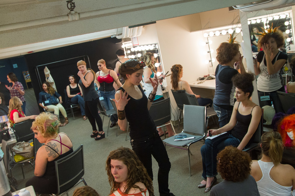Models getting ready backstage.  Photo by   Nickila Photography  , as part of Kickstarter donation perk.