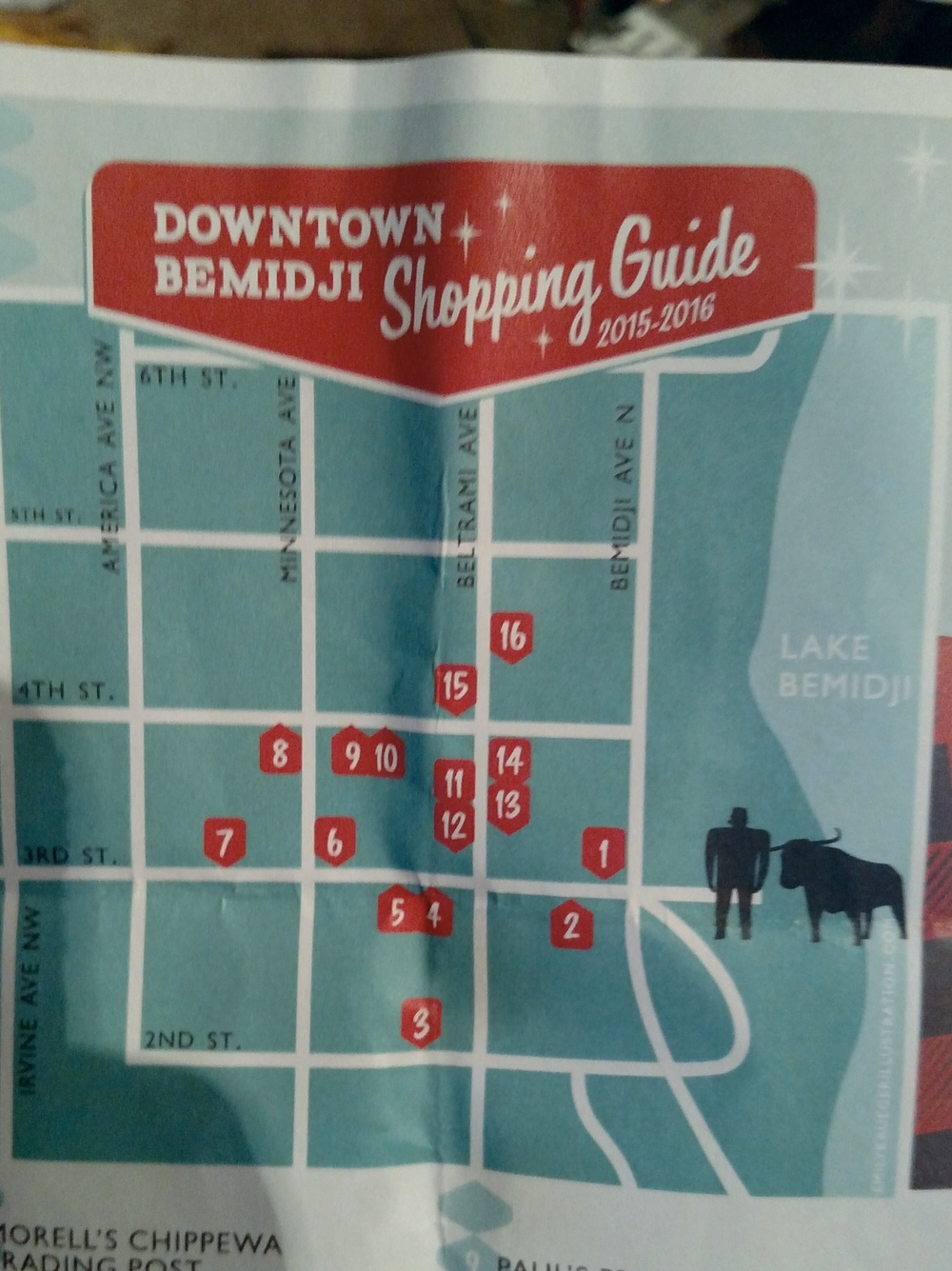 Downtown Bemidji shopping map by  Emily Krueger Illustration .