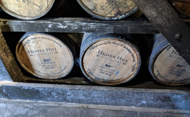 Heaven Hill distillery 80th Anniversary Barrels aging.