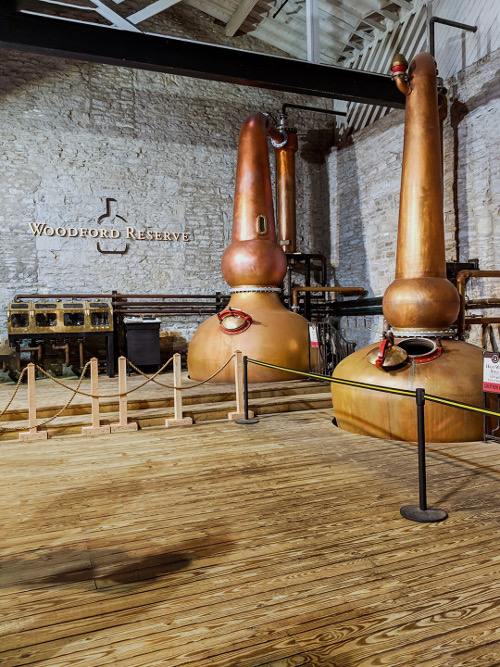 Woodford Reserve spirit safe and two of the three stills