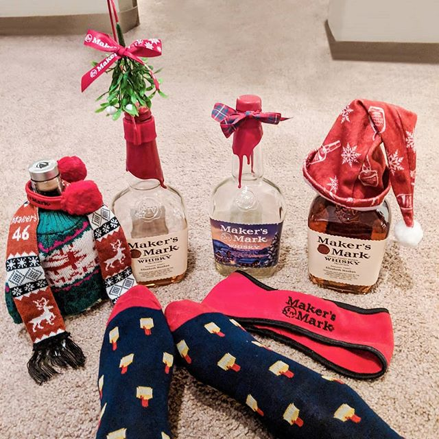 Ambassador for life ❤️🥃🎄 . . . . . Thank you @makersmark for the annual #MakersMarkAmbassador gifts! Loved the experience of dipping my Ambassador bottles this summer and am honored to be an AFL. Hope to be back to Loretto soon ❤️ but in the meantime, the recent #topchefkentucky episode at the distillery will have to do. . . . . #markofthemaker @bravotopchef #onthesocks #todaystreasures #bourbon #womenwhowhiskey #fromwhereistand #bourbonbabe #whiskysweater #decktheneck #makersmark