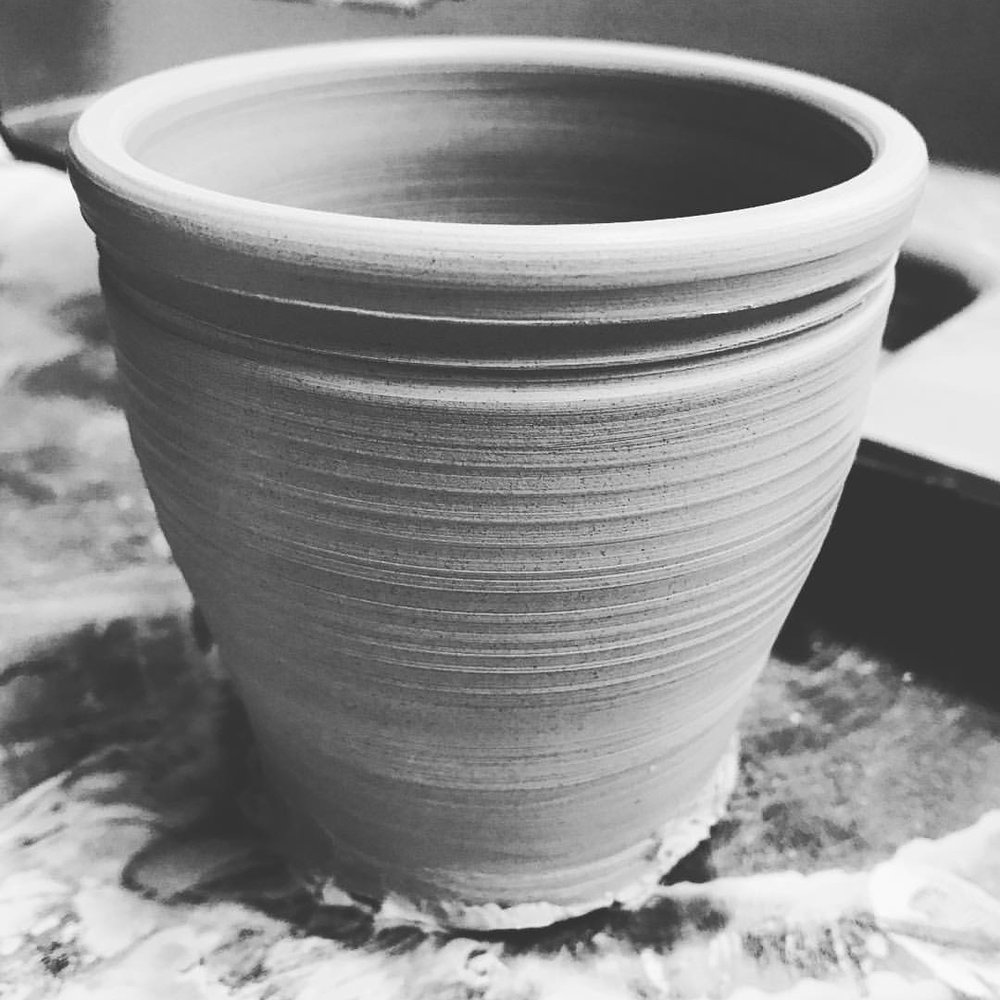 Becs // Started throwing pottery again after a 4 year hiatus. NEXT STEP: Threw her first pot in her new home studio.