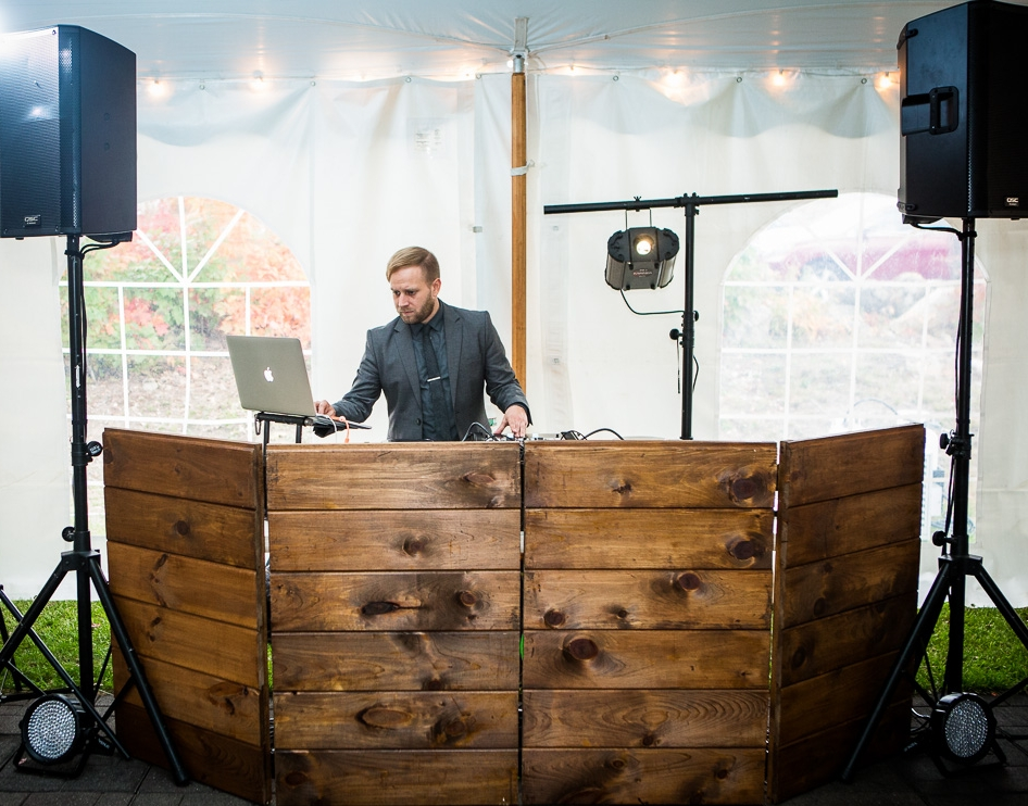 Custom DJ Booth / Courtesy of :  www.nathanfiskephotography.com  Wedding @  Monadnock Berries Farm NH