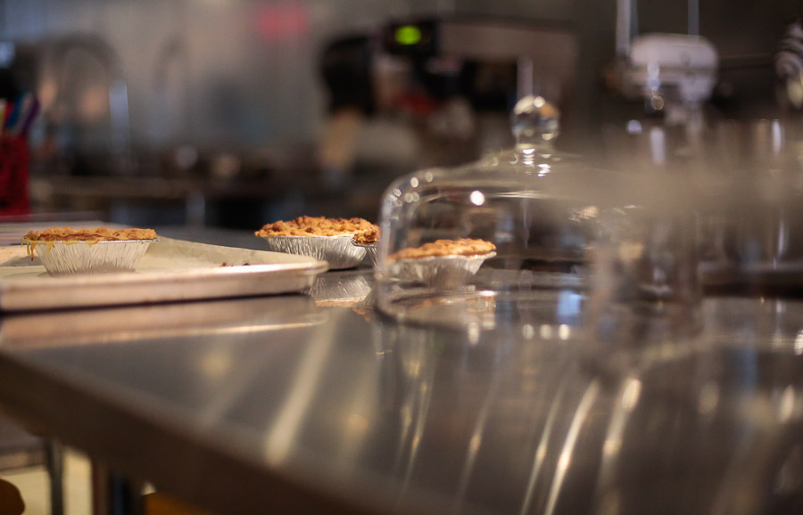 A Dutch apple pie waits to be taste tested at Peggy Jean's Pies.