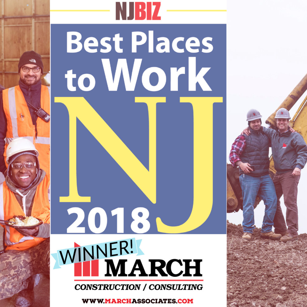 March Construction, Best Places to work in NJ, 2018