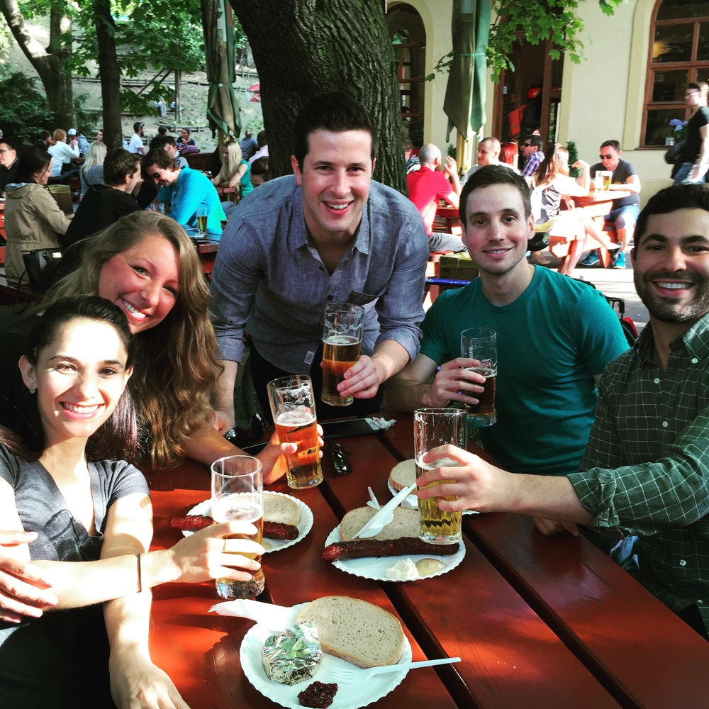 Remote Year team having beers at Riegrovy Sady Park - from left to right is Hannah, Trish, Sam, Will and Greg