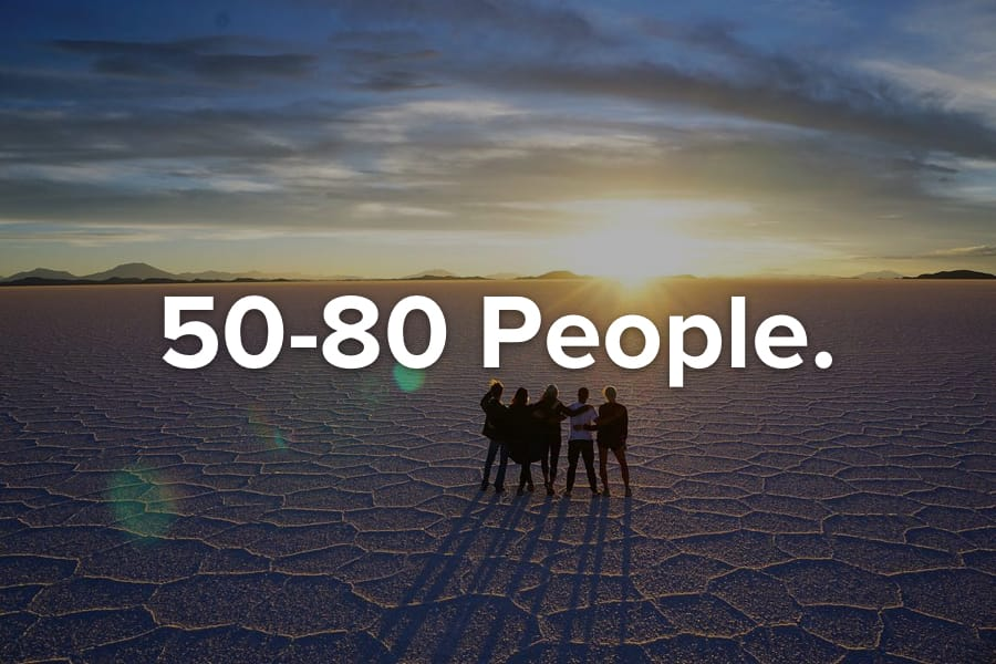 Travel the world with 50-80 people