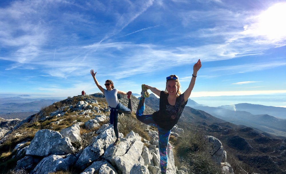 Yoga on a mountain on Remote Year