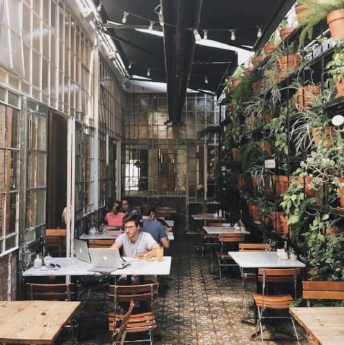 Tall garden coworking space