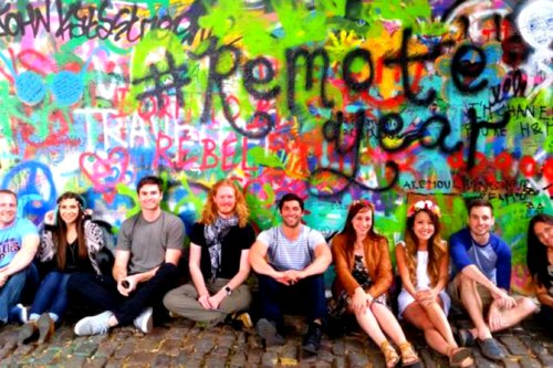 Remote Year Group with Graffitti wall