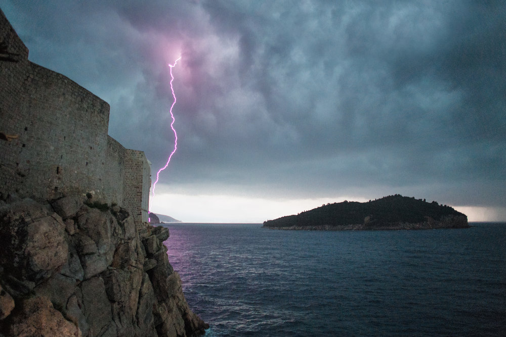 In Dubrovnik, Croatia, we were caught in a sudden thunder and hailstorm. 813 shots later, I had the one lucky photo I was hoping to get - lightning striking just outside the ancient city walls.