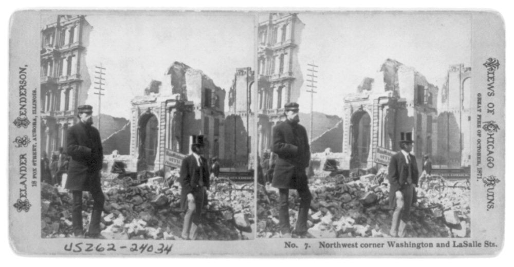 [Ruins in Chicago, after the great fire of Oct. 1871 - two men standing in foreground, at] Northwest corner of Washington and LaSalle Sts. Library of Congress Prints and Photographs Division