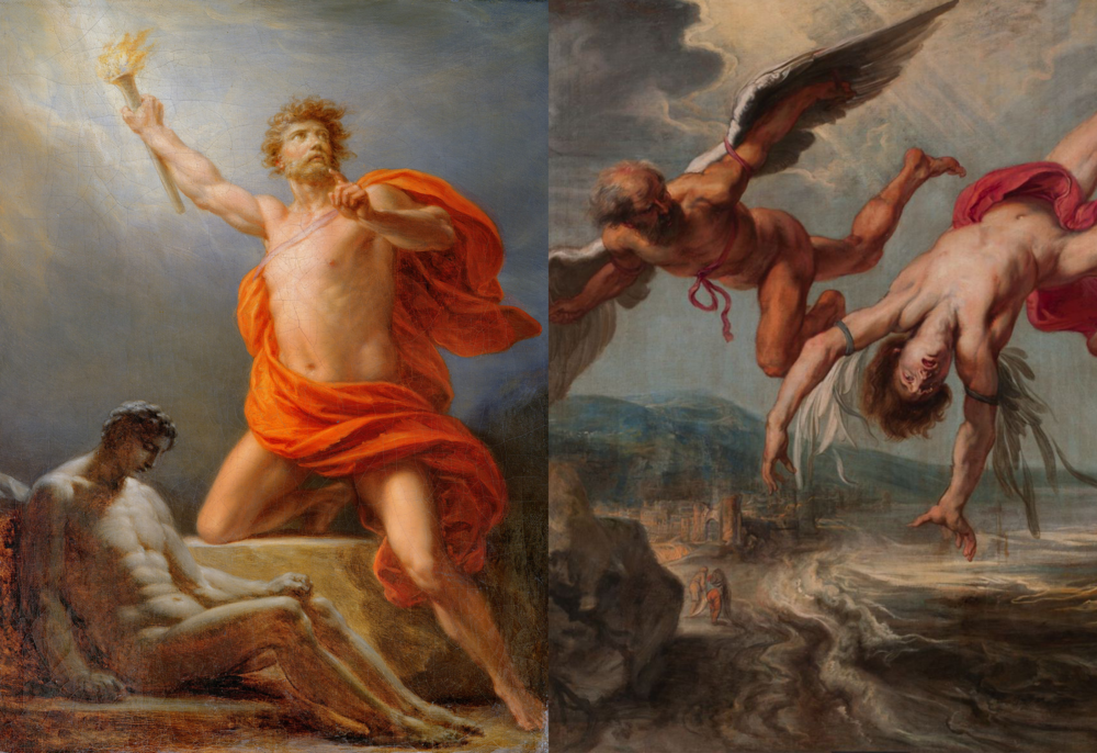 LEFT: Prometheus Bringing Fire to Mankind,  Friedrich Heinrich Füger, 1817. RIGHT: The Fall of Icarus, Jacob Peter Gowy, 1635-7.