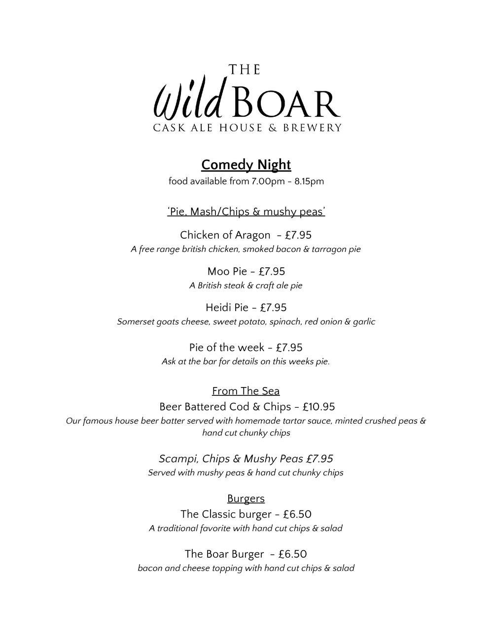 comedy night menu