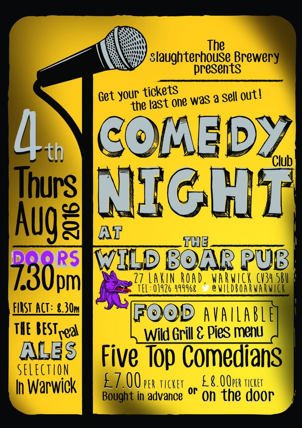 Comedy Night poster at the Wild Boar Pub