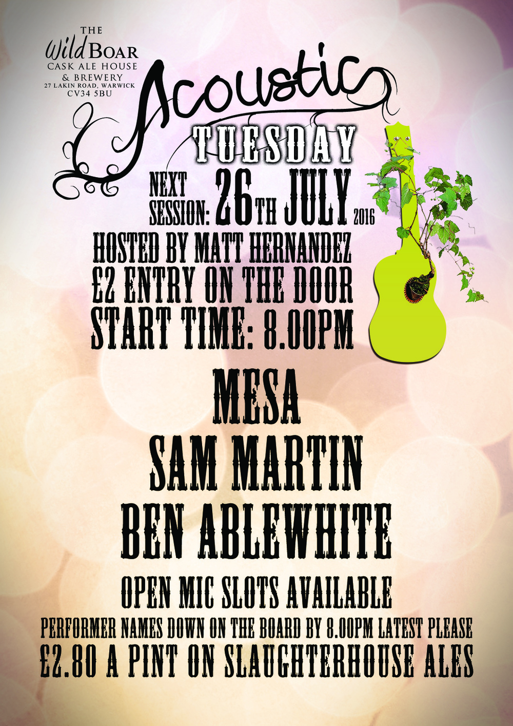 Acoustic Tuesday poster @ The Wild Boar Pub
